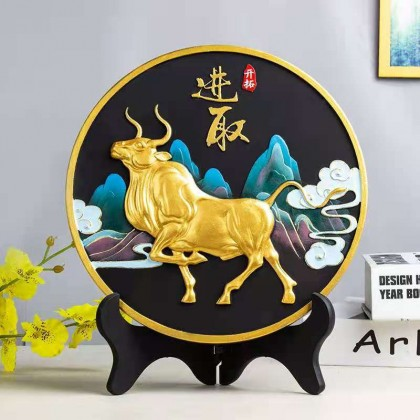 2021 Year of The OX Activator Carbon Display Plaque Negative Ion Charcoal cow